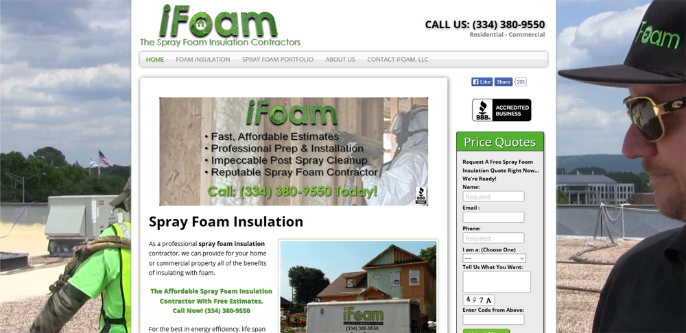 spray foam insulation website design