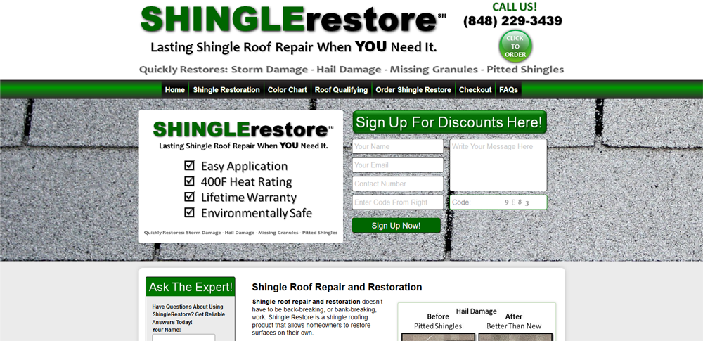 roofing product website design